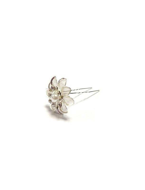 Pic chignon fleur strass perle