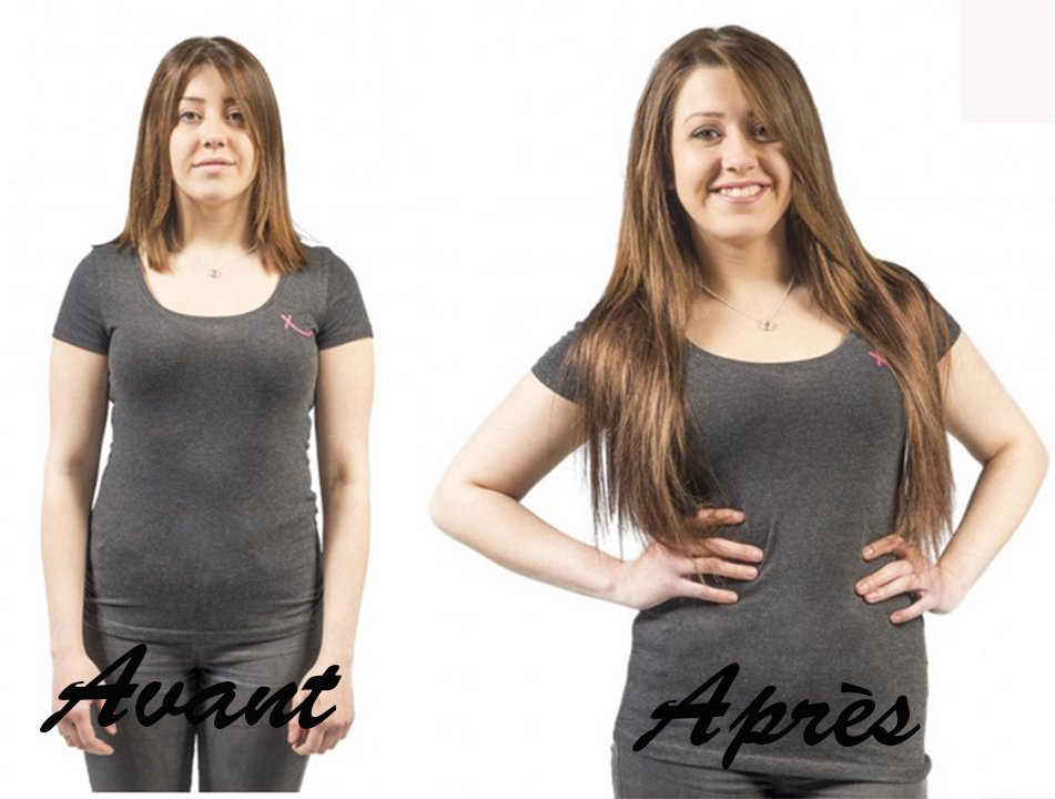 Plusieurs photos avant apres la pose d'extension de cheveu – Un grand merci !