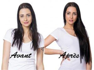Avant/après pose d'extensions cheveux à froid