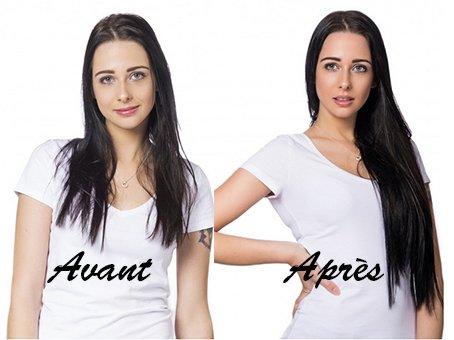 Photos Avant Après la pose – Extension de cheveu