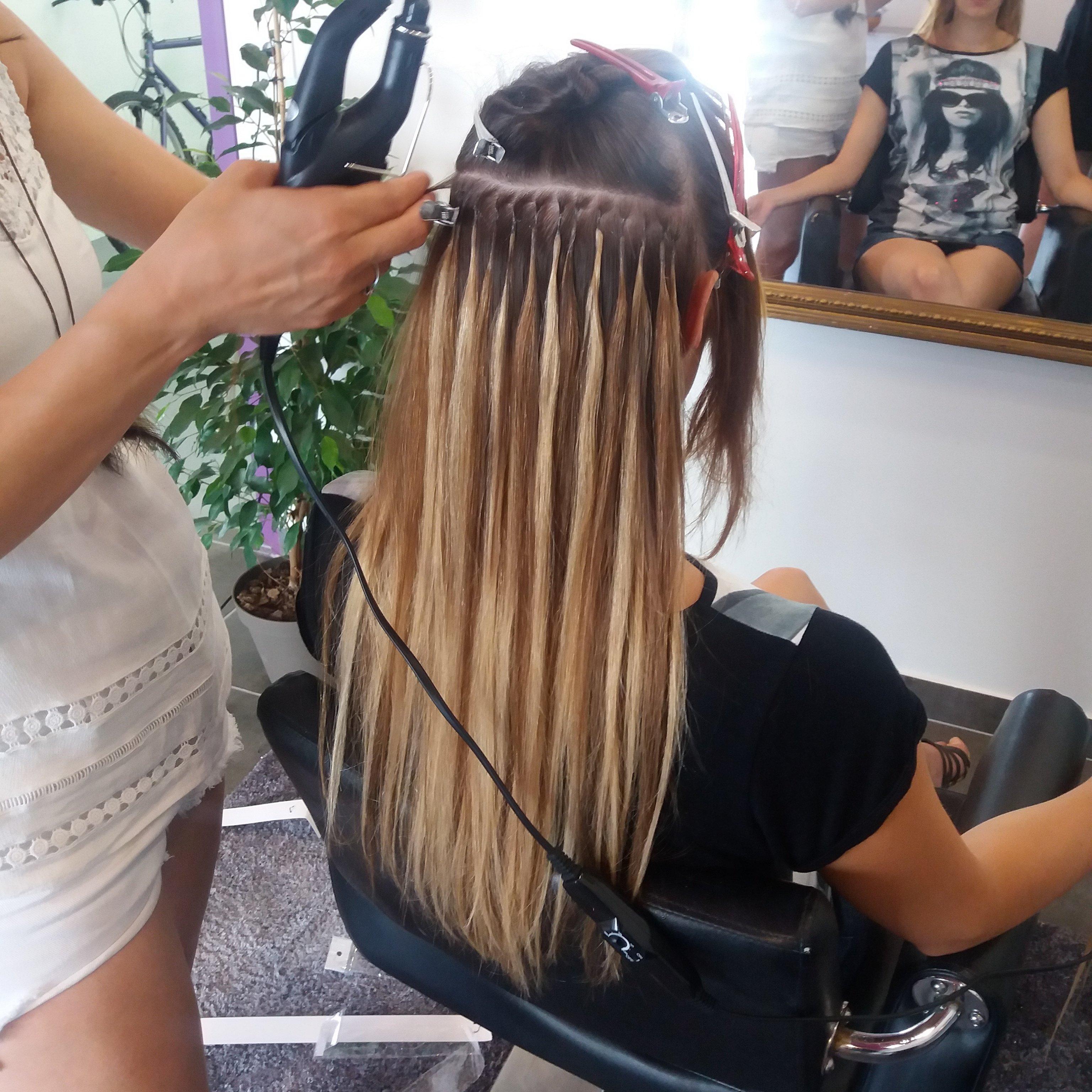 Extension de cheveux a la keratine