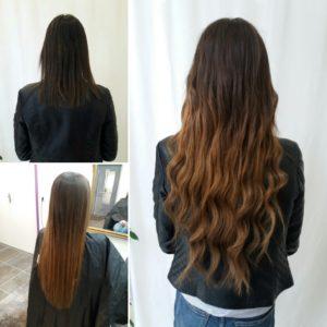 Tie and dye réalisé avec des extensions de cheveux naturelles de deux couleurs différentes unies